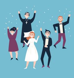 After wedding ceremony bride groom and guests vector