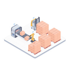 automated packing system isometric vector image