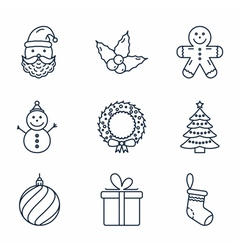 Basic christmas icons vector