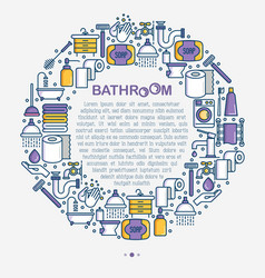 Bathroom equipment concept in circle vector