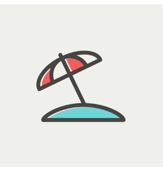Beach umbrella thin line icon vector image