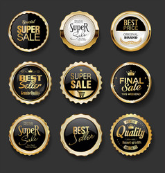 Black and gold badges super sale collection 05 vector