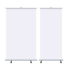 Blank roll up banners set isolated on the white vector