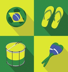 Brazil Soccer football icons flat style vector