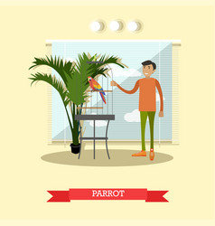 Buying a parrot in flat style vector