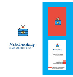 camera creative logo and business card vertical vector image