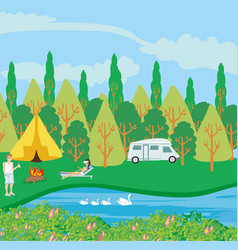 Campsite river vector
