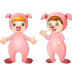 cartoon kids wearing pigs costume vector image