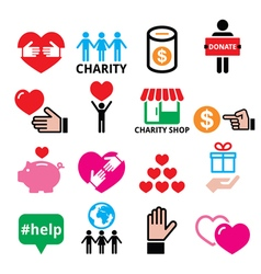 Charity helping other people icons vector