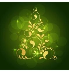 christmas gold tree vector image