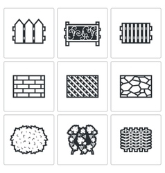 Collection of fences from different materials vector image