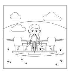 Coloring page with kid on playground vector