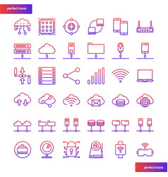 computer networks and database gradient icons set vector image