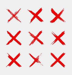 Cross sign x icon red sketch mark grunge brush vector