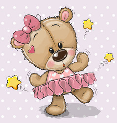 Cute cartoon teddy bear ballerina vector