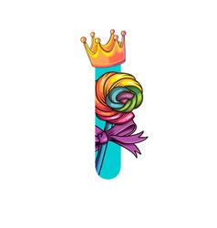 cute magic letter i vector image