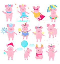 Cute piggy in different costumes superhero vector