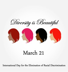 Diversity is beautiful- March 21 card vector