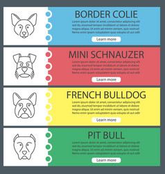 Dogs breeds web banner templates set vector