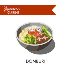 donburi japanese cuisine traditional meat rice vector image