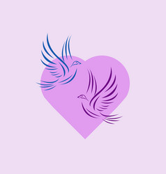 dove and heart valentine logo vector image