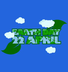 earth day typography with green outline and leaf vector image