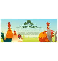 Farm animal and rural landscape with chickens vector