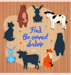 find correct shadow learning game template vector image