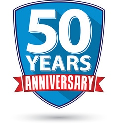 Flat design 50 year anniversary label with red vector image
