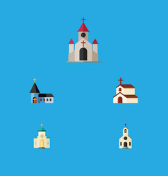 Flat icon church set of building christian vector
