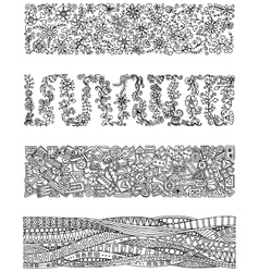 Floral set of horizontal borders for your design vector image