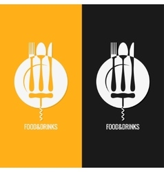 Food And Drink Plate Fork Knife Spoon vector image