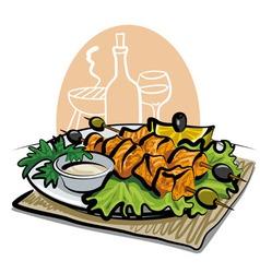 grilled salmon kebab vector image