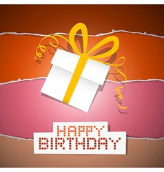 Happy Birthday Torn Paper Retro Background with vector image