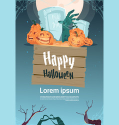 happy halloween party banner pumpkins on cemetery vector image