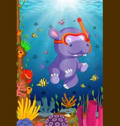 hippo snorkeling in underwater sea vector image