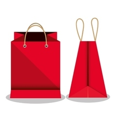 Icon bag shop red paper design vector