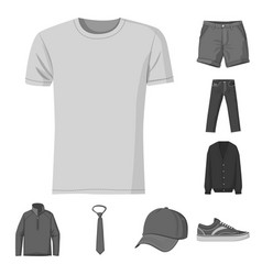 Isolated object of man and clothing symbol set of vector