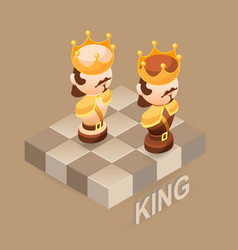 isometric cartoon chess pieces king flat vector image