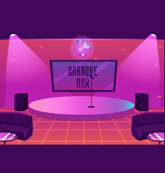 Karaoke bar interior with stage for music vector