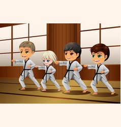 kids practicing martial arts in dojo vector image
