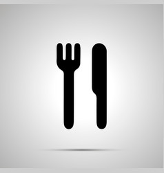 knife and fork simple black icon vector image