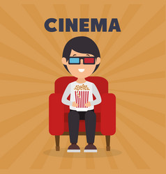 Man eating pop corn and watching a movie 3d vector