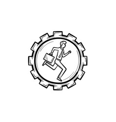 man running in the gear hand drawn sketch icon vector image vector image