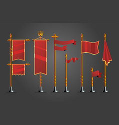 medieval cartoon flag set game design assets vector image