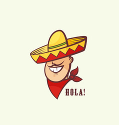 Mexican man head with traditional sombrero and red vector