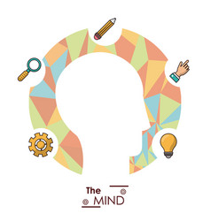 mind head silhouette idea creativity work vector image