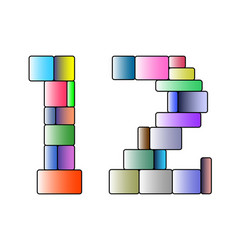 Multicolor number one and two in cubic style vector