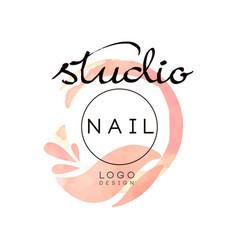 nail studio logo creative design element vector image