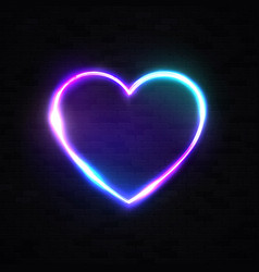 neon 80s style heart background black brick wall vector image